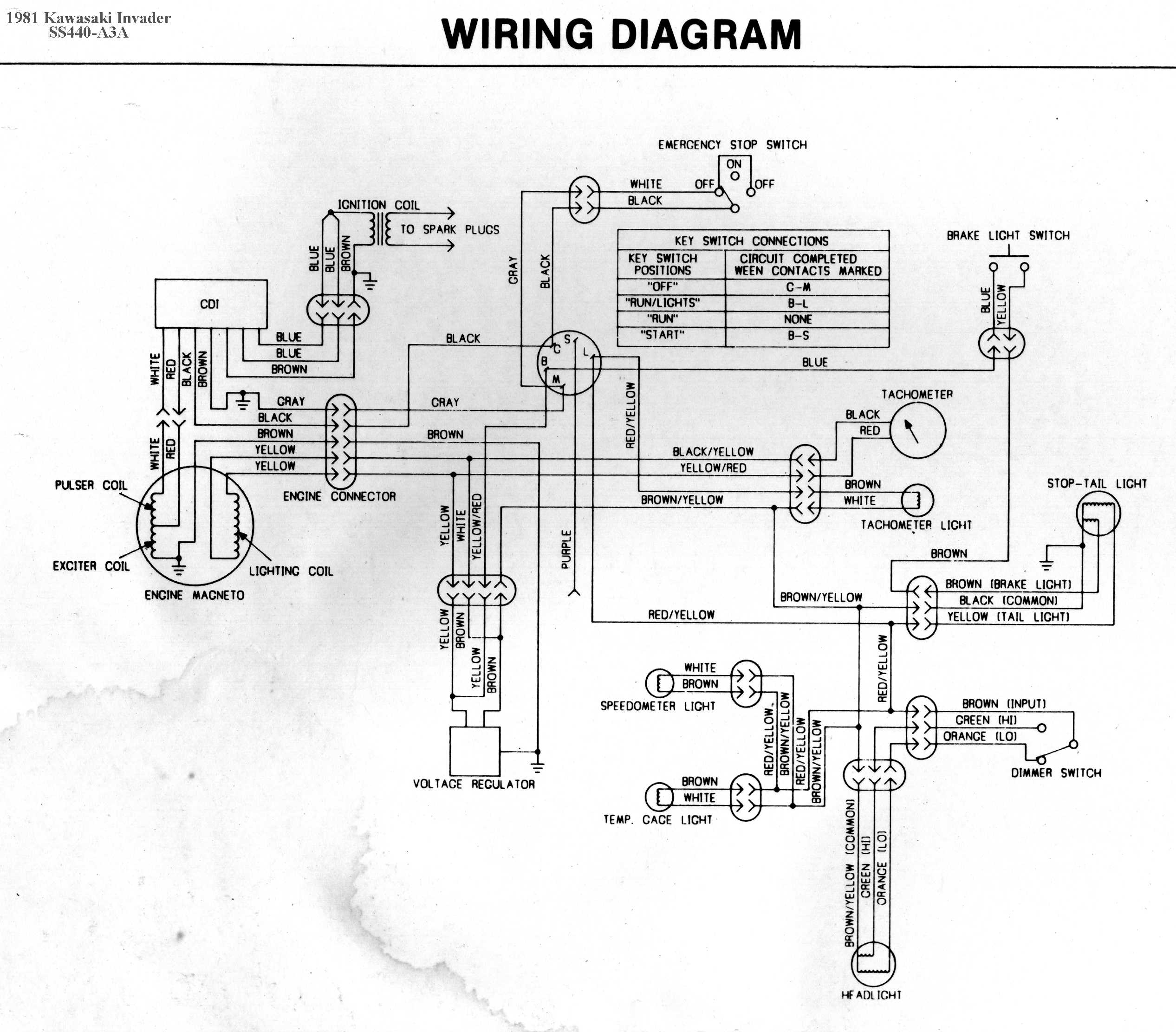 ss440a3a kawasaki invader snowmobile wiring diagrams 1980 kawasaki 440 ltd wiring diagram at bayanpartner.co